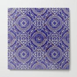 Bohemian pattern: blue and white design Metal Print