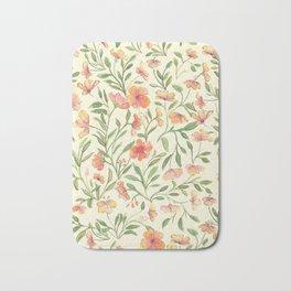 Watercolor Botanical Pattern Bath Mat