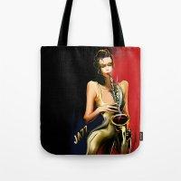 jazz Tote Bags featuring jazz by tatiana-teni