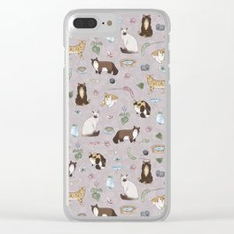 Cute Realistic Cats Design- Brown & White Kitty Pattern 1 Clear iPhone Case