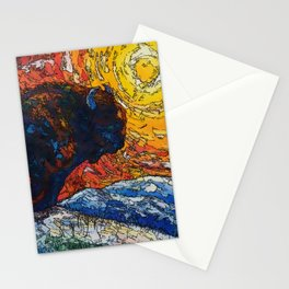 Wild the Storm Bison Painting by OLena Art Stationery Cards