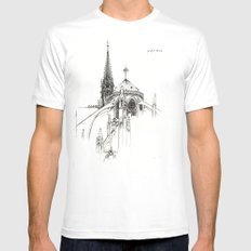 Notre Dame Cathedral Sketch Mens Fitted Tee White MEDIUM