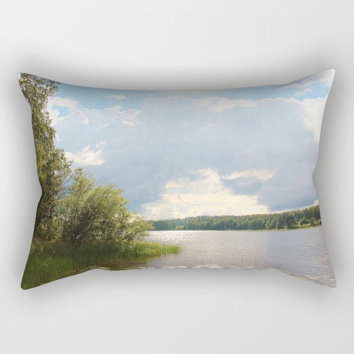 Lake view in Finland Rectangular Pillow