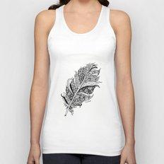 Feather Black and White 3 feathers Bird birds Zen Unisex Tank Top