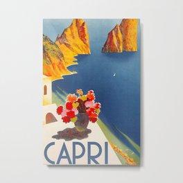 Capri Italy Island Wall Art Poster Print Placard Home Room Decor Artwork Gift for Men Women Him Her Metal Print