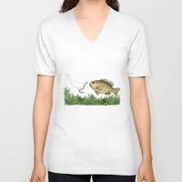 fishing V-neck T-shirts featuring Fishing by Eugenia Hauss