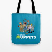 muppets Tote Bags featuring Drunk Muppets by Jared Gase