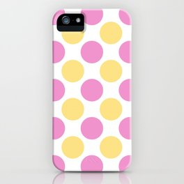 Yellow and pink polka dots iPhone Case