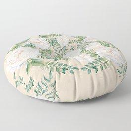 Garden Roses Mandala Pink Green Cream Floor Pillow