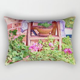 Terracotta and Geraniums Rectangular Pillow