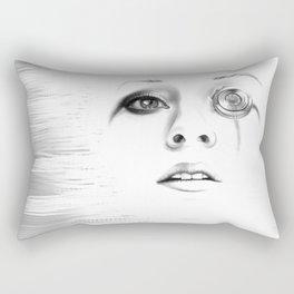 Sci-fi minimalist portrait of a woman digital painting Rectangular Pillow