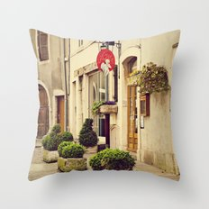 Le P'tit Paradis, Beaune France Storefront Throw Pillow