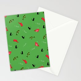 Green Orca and Red Shark and Black Cats Stationery Cards