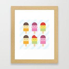 Kawaii Summer Ice Lollies / Popsicles Framed Art Print
