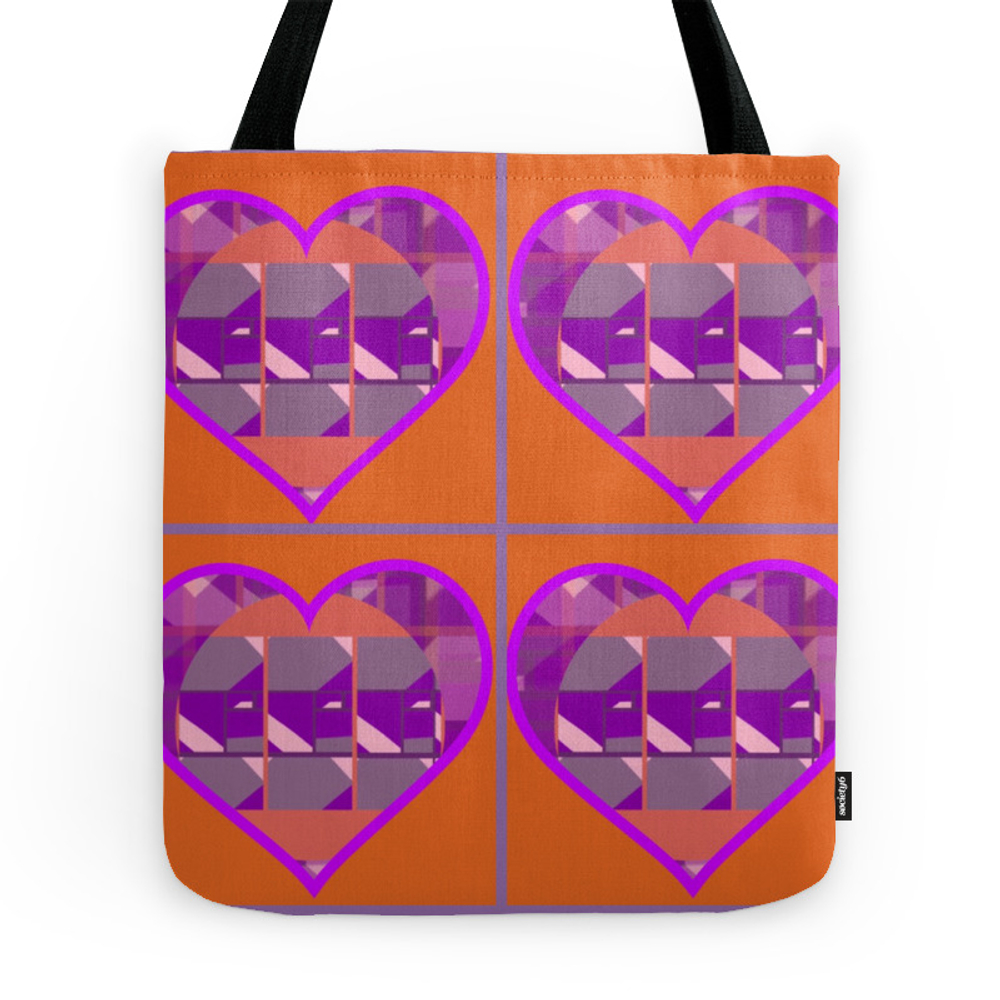 Orange Searching for Mauve, Pink and Purple Hearts Tote Purse by theartofgandy (TBG7535007) photo