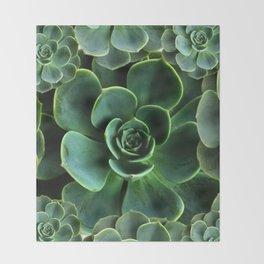 JADE GREEN SUCCULENT ROSETTES DESIGN Throw Blanket