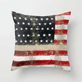 USA Flag ~ American Flag ~ Distressed Pattern ~ Ginkelmier Inspired Throw Pillow