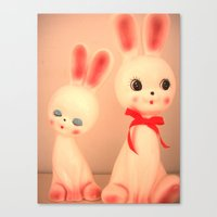 bunnies Canvas Prints featuring  Bunnies by Vintage  Cuteness