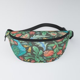 Asian-Inspired Floral Pattern With Majestic Peacocks Fanny Pack