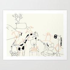 Animales everywhere Art Print