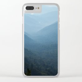 Morning mountains going into the distance Clear iPhone Case