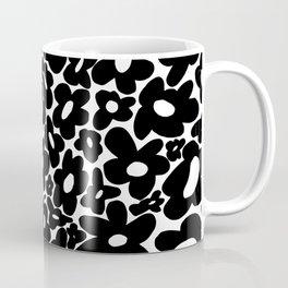 60s 70s Hippie Flowers Black Coffee Mug