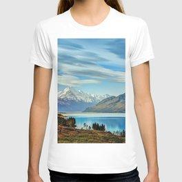 Lake Wakatipu sky rocks forest glacier New Zealand T-shirt