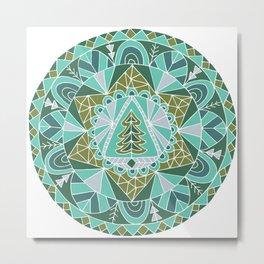 Holiday Winter Tree Mandala Metal Print