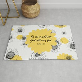 For no word from God will ever fail, Luke 1:37, Bible Verse Rug