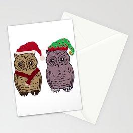 Santa Owl and Elf Owl Stationery Cards