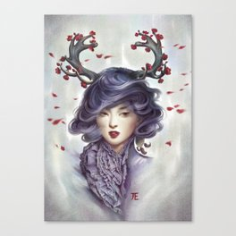 Woman with Antlers Canvas Print