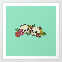 Twin Skeletons Art Print
