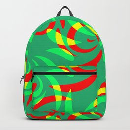Pattern from colored doodles and curls in floral ornament in ethnic style on azure background. Backpack