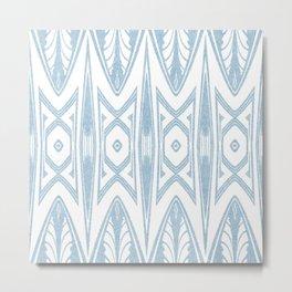 Velvety Tribal Shield Reverse in Pale Blue Metal Print