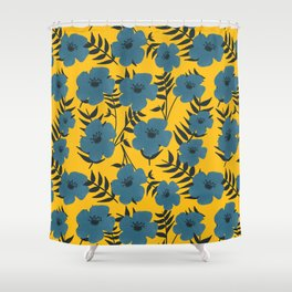 Blue Flowers with Banana Leaves with Yellow Shower Curtain
