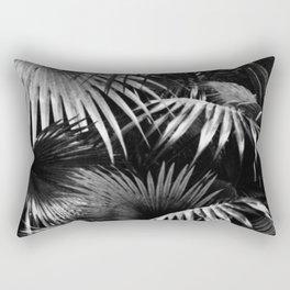 Tropical Botanic Jungle Garden Palm Leaf Black White Rectangular Pillow