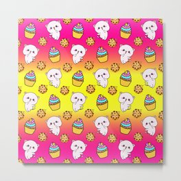 Cute happy funny Kawaii pink baby kittens, yummy colorful cupcakes and chocolate chip cookies cartoon bright sunny yellow pattern design. Nursery decor ideas.  Metal Print