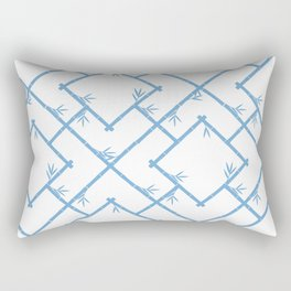 Bamboo Chinoiserie Lattice in White + Light Blue Rectangular Pillow