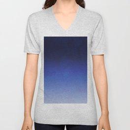 Modern navy blue watercolor ombre gradient fade Unisex V-Neck