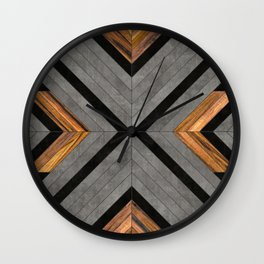 Urban Tribal Pattern 2 - Concrete and Wood Wall Clock
