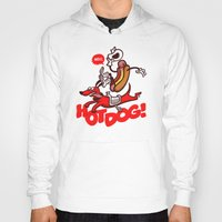 hot dog Hoodies featuring Hot Dog! by Gimetzco's Damaged Goods
