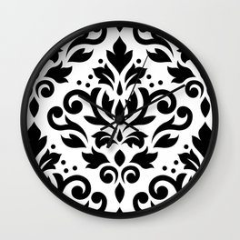 Scroll Damask Large Pattern Black on White Wall Clock