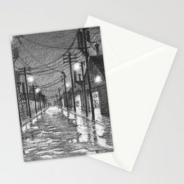 Raining on industrial street Stationery Cards