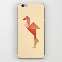 Tangram Flamingo Yellow iPhone Skin