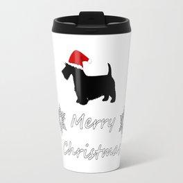 """Scottish Terrier """"Merry Christmas"""" Travel Mug"""