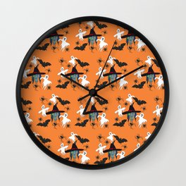 Halloween pattern Witch Monsters Wall Clock