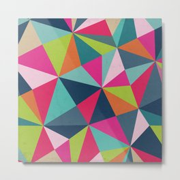 Geometric Triangle Pattern  - Spring Color Palette - Metal Print