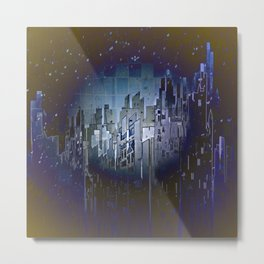 Walls in the Night - UFOs in the Sky Metal Print
