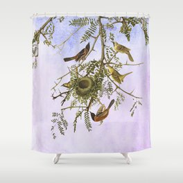 Sky Blue Pink with birds Shower Curtain