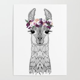 FLOWER GIRL ALPACA Poster